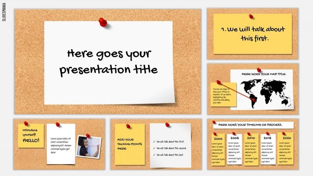 Bulletin Board Free Template For Google Slides Or Powerpoint Presentations Slidesmania