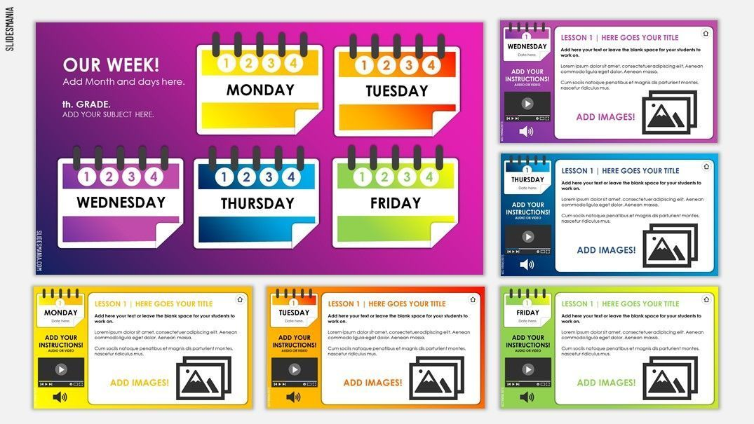 Weekly Planner For Online Lessons Based On Google Slides Or Powerpoint Slidesmania